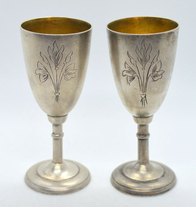 875 Silver Vodka Shot Glass Cups (2 pieces), Russia, after 1958, total 76 gr
