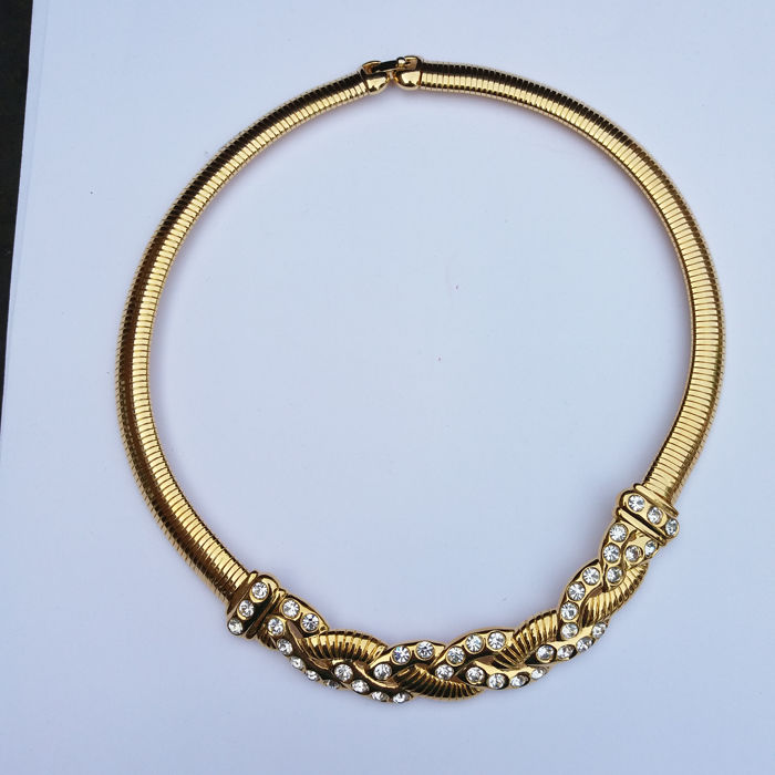 Vintage Signed Monet Gold Plated and White Rhinestone Necklace