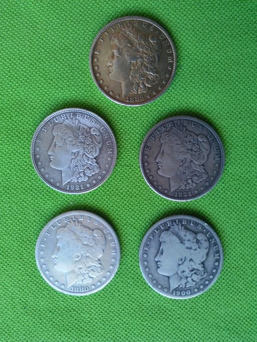 United States - 1 Dollar 'Morgan' 1880/1883/1900/1921/1921 (lot of 5 coins) - Silver