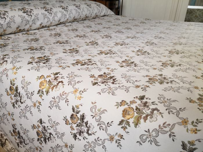 Florence - antique damask fabric bedspread - cotton - 260 x 250
