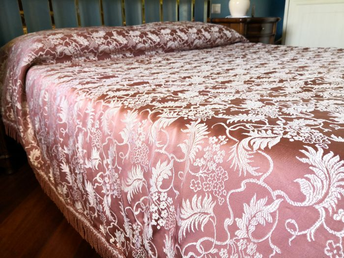 Florence - antique Damask fabric bedspread - silk blend - dimensions 260 x 220