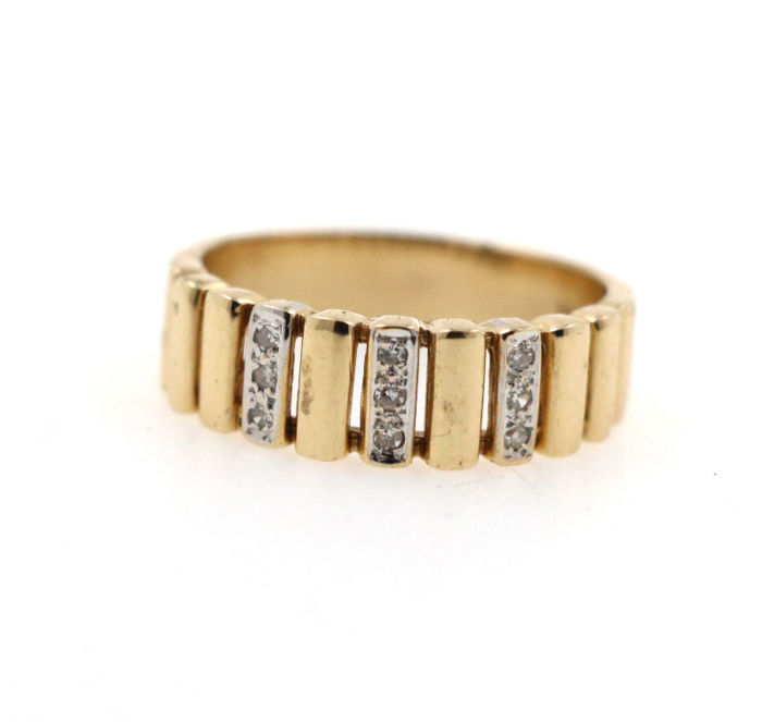 585 / 14 kt yellow and white gold ring with brilliants 0.09 ct H VS1 - size 55