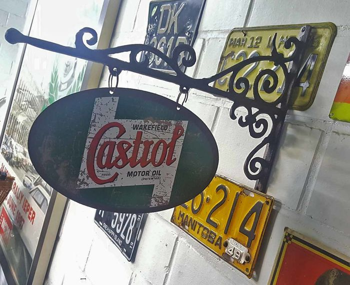 Hanging sign with metal work CASTROL