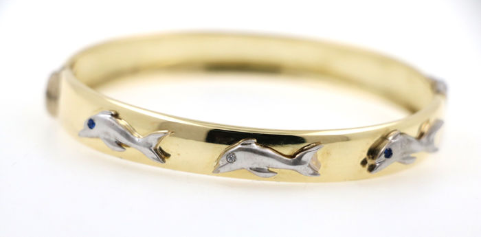 Bracelet - Gold, White gold - Natural (untreated) - Diamond and Sapphire