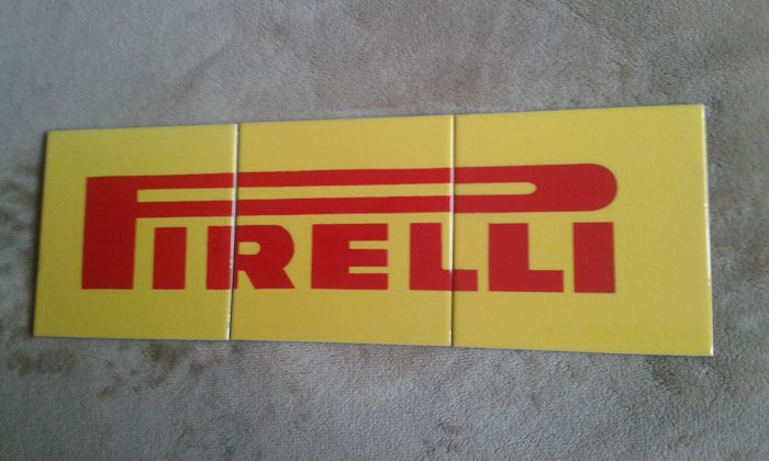 3 original workshop tiles with Pirelli logo, 70s