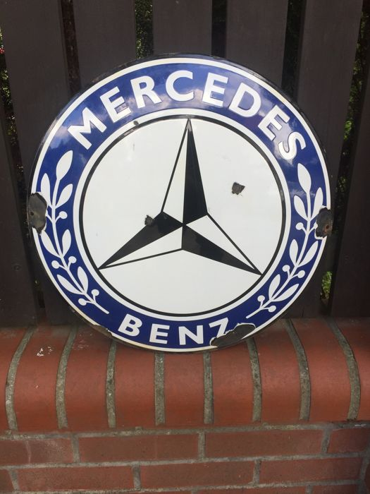 rare Enamel sign MERCEDES BENZ dealer old sign 50cm diameter