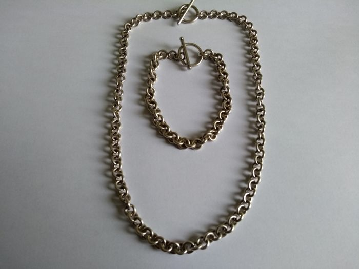 Women's chain necklace and matching chain bracelet (21 cm) in 925 solid silver, with T-shaped clasp