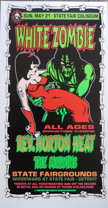 White Zombie - Original 1995 US Poster Rev Horton Heat The Melvins (Red Dress)