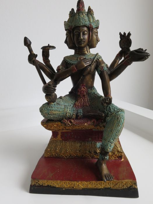 "A bronze ""4 faces""-""8 arms"" seated Brahma - Thailand - late 20th century"