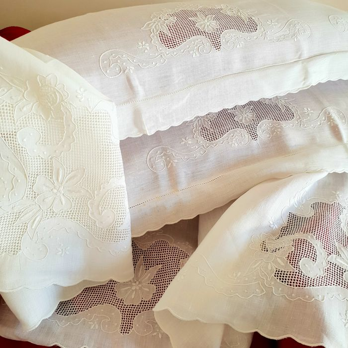 100% pure linen high-value bed sheet - fine handmade embroidery -  Italian craftsmanship - top quality - 273 x 224 cm