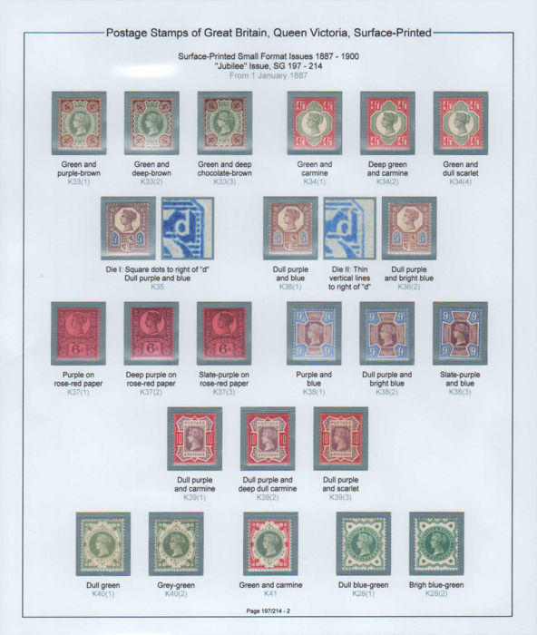 Great Britain, Queen Victoria 1887 - Jubilee issue to 1s, specialised collection of shades
