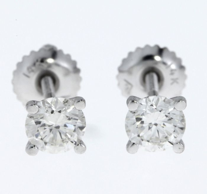 1.06 ct D-E/VS1 round diamond stud earrings 14 kt white gold *** no reserve price***