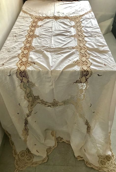 Superb old handmade cotton tablecloth with embroidery and needlework