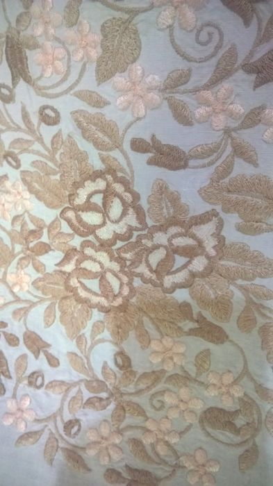 Exquisite embroidered linen bedspread - crochet - late 1800s