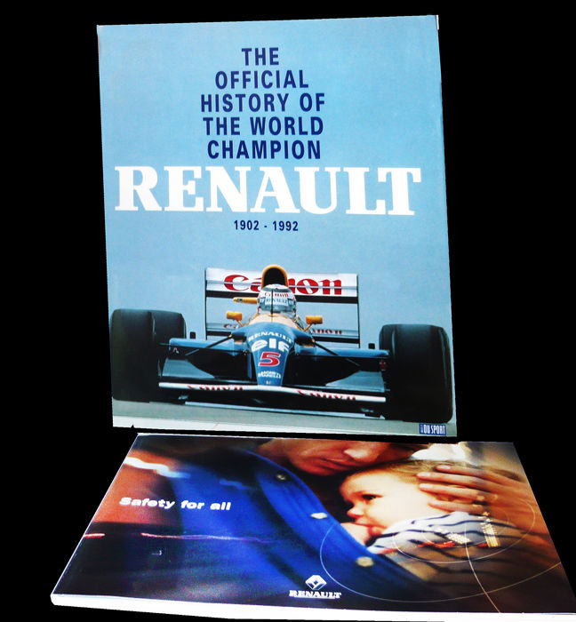 "The official history of the World Champion Renault 1902-1992 - 144 pages of motor sport . Added the 2002 press-booklet: ""Safety for all""."