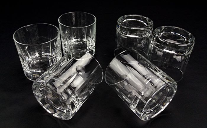 Odyssey by Val St Lambert - Set of 6  whisky shot glasses in crystal - Vintage