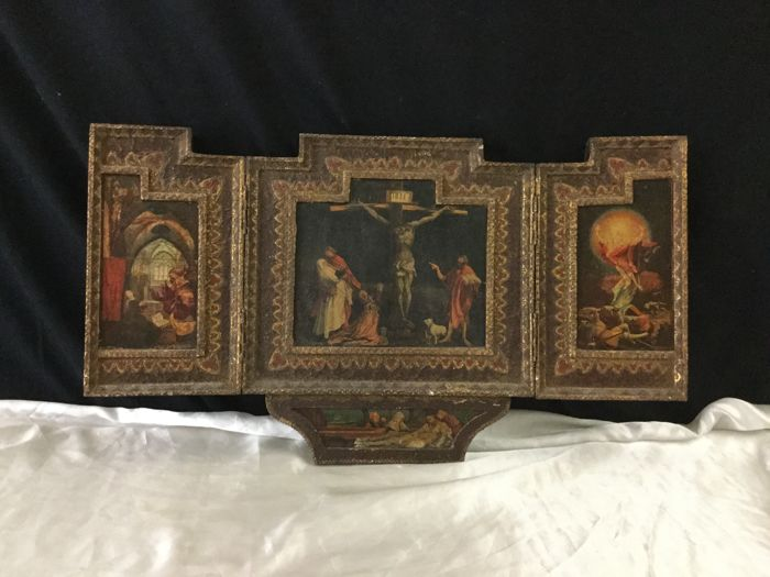 Large religious triptych on the life of Jesus - France - late 19th