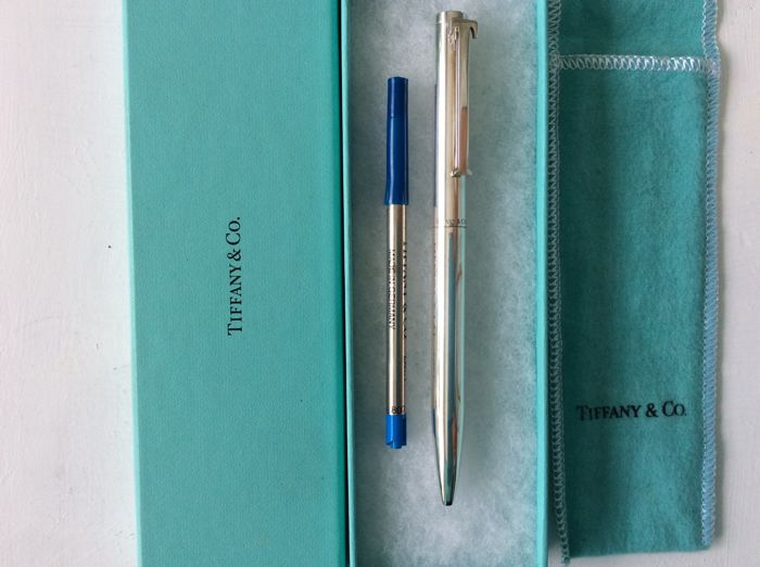 Tiffany Ballpoint Pen With Executive Tiffany T-Shaped Barrette - Silver