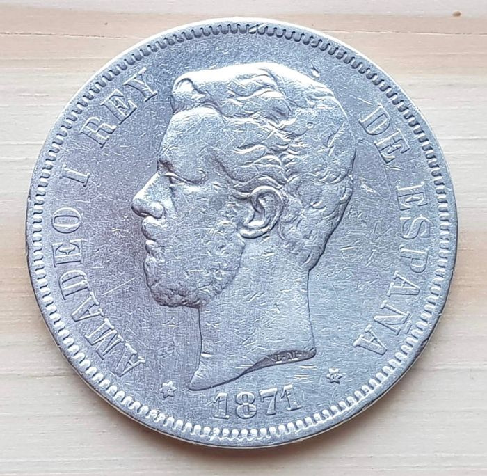 "Spain - 5 Pesetas 1871 * 71 * SD-M - Silver - Amadeo I ""1871"" - Madrid"