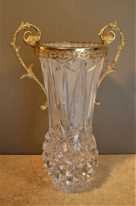 Superior crystal vase finished with brass mounts (fittings)