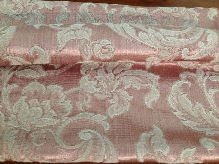 Antique and fine silk blend fabric - 3.16 m - San Leucio - Louis XVI style - pink colour