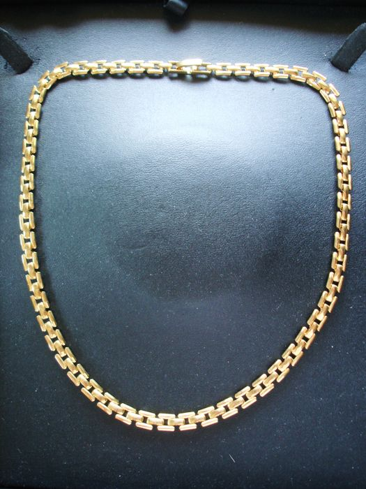 Vintage 1970s - 14K YGP Flat Panthere or Cartier- style link Chain Flexible Necklace in Choker length - NO Reserve