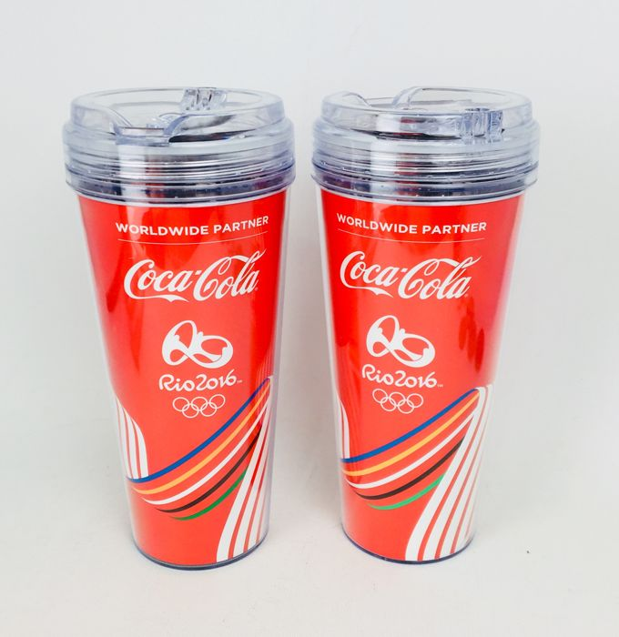 Two Official Rio 2016 Olympic Merchandise by Coca Cola Large Cups Advertising Drink