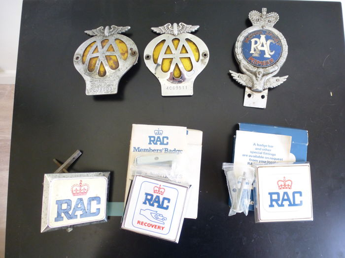 6 Vintage RAC and AA car badges