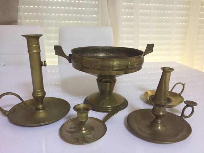 Four candlesticks and an altar cup. France, early 1900s (5)