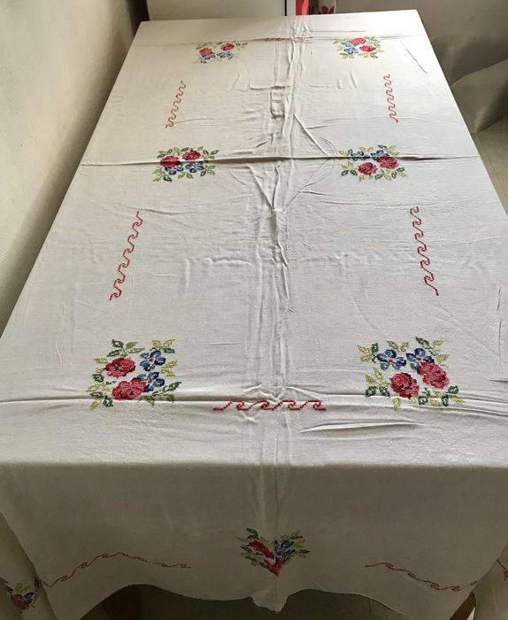 Large and very old cotton tablecloth with embroidered roses, in cross stitch, all handmade