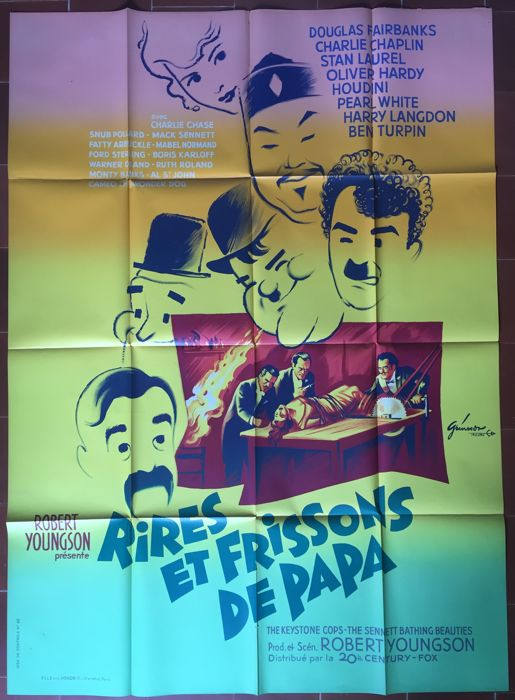 Rires et frissons de papa / Days of thrills and laughter - Affiche de cinéma originale française - 1961 - Charlie Chaplin, Laurel & Hardy