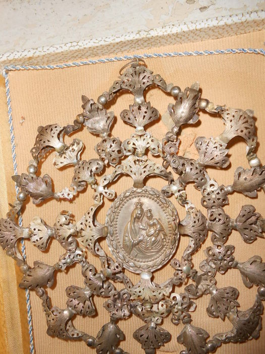 Exceptional large ex voto made of silver filigree, double side, 1800s
