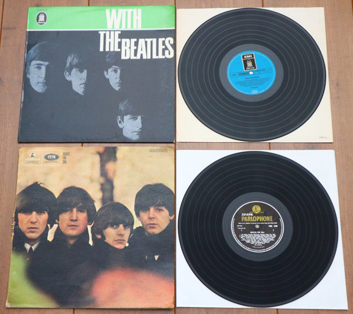 The Beatles- Great lot of 2 early classics: With The Beatles (Germany 1969, w. blue Odeon labels) & Beatles For Sale (1st UK in mono, 4N/3N matrix)
