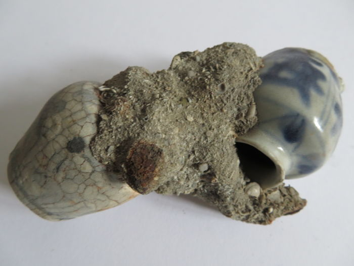 Sea sculpture, 2 Chinese blue and white porcelain medicine oil holder with flower decoration in a corail bed - 125 x 45 mm