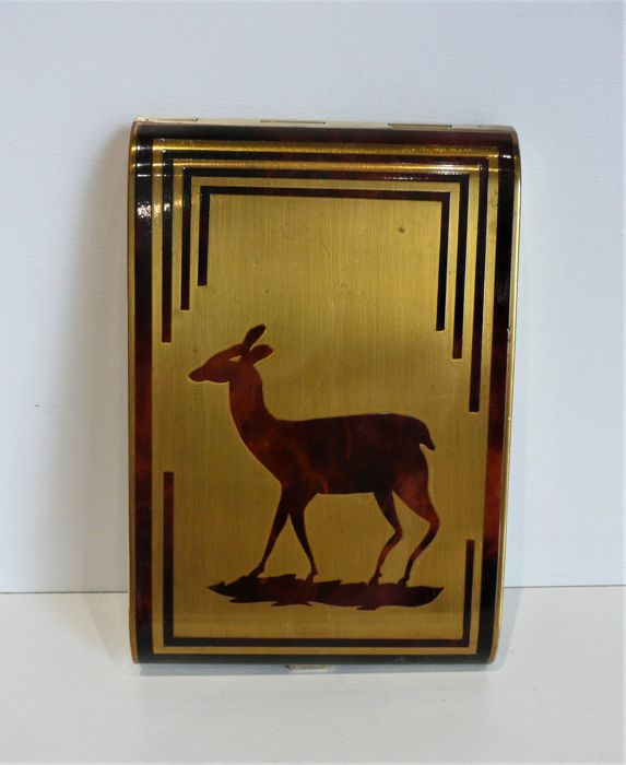 Art Deco gold plated inlay cigarette case.