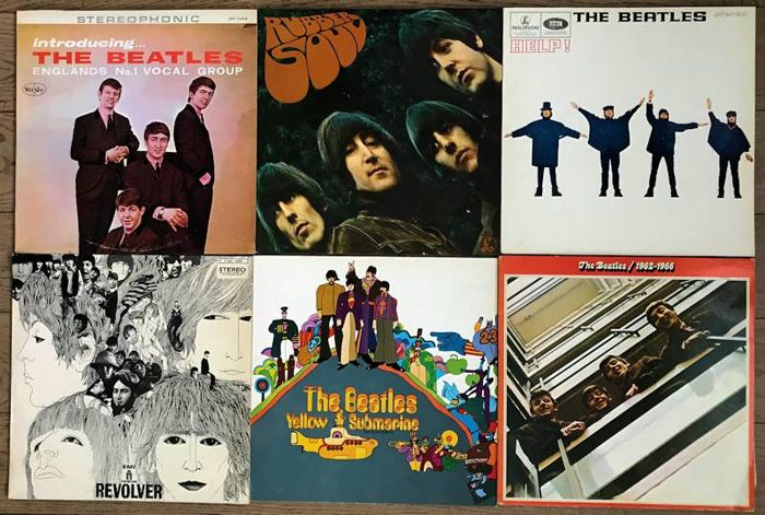 """Beatles: lot of six lp's """"Introducing the Beatles"""" """"Rubber soul"""" """"Help"""" """"Revolver"""" """"Yellow submarine"""" """"1962-1966"""""""