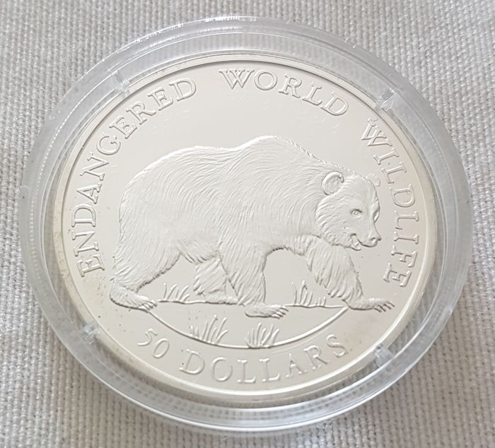 Cookeilanden - 50 Dollar 1990 'Endangered World Wildlife / Grizzlybär' - Zilver