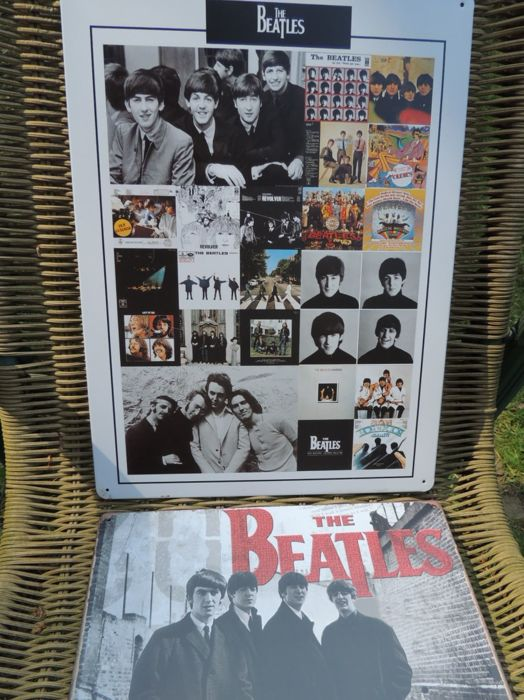 """Two Stunning BIG Metal Beatles  Memorial Repro Signs - The Beatles Best Of """" the Beatles Live In Person """""""