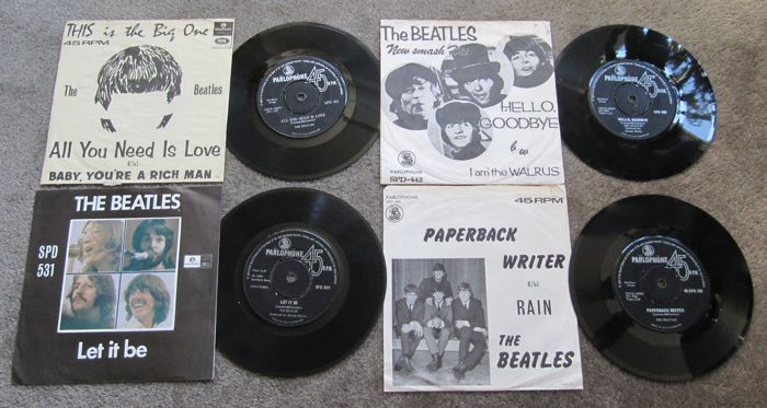 Beatles - Set Of 4 Singles 45 Records From South Africa