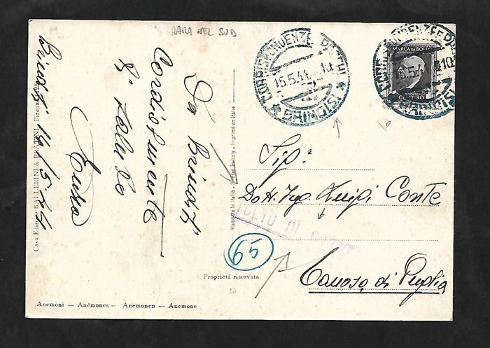 Italy 1944 - 30 cent Revenue Stamp on postcard from Brinidisi to Canosa di Puglia, not recognised as valid (cancellation - Tolto di Corso), directed to destruction - De Mag no.  127