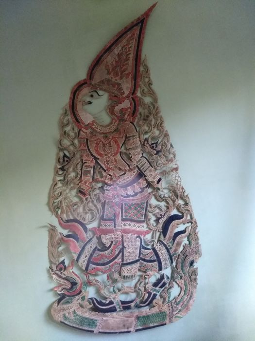 Shadow puppet figure from the Ramayana story - Thailand - mid 20th century