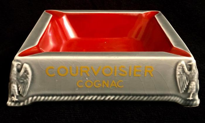A , very rare , vintage , COURVOISIER COGNAC  advertising  , enamelled ceramic  , very large ashtray , with several logos of NAPOLEON I
