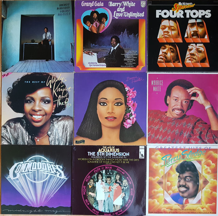 Collection of 9 very good soul albums: Barry White, Four Tops, Commodores, 5th Dimension, Percy Sledge, Maurice White, Gladys Knight, Bonnie Pointer and Smokey Robinson