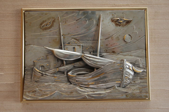 """Mareggiata"" (coastal storm) - bas-relief on silver plate - framed - by Ottaviani - Italy, 1970s"