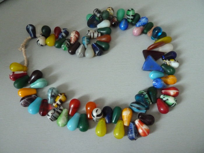 Necklace with large vaseline glass beads