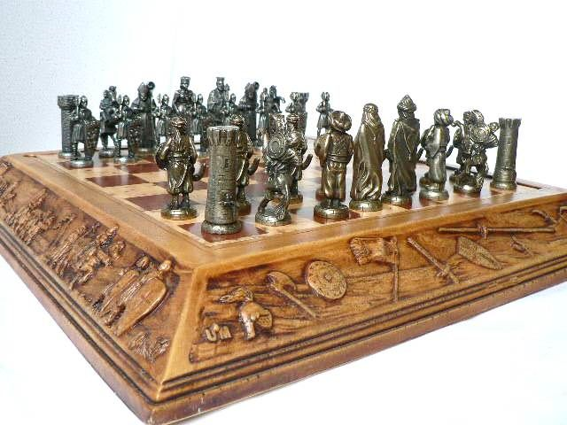 """Bronze chess """"Arab Warriors vs Christian Troops"""" Board-box with reliefs"""
