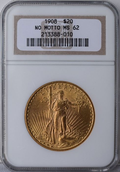 USA - 20 Dollar 1908 Saint Gaudens - No Motto - in NGC slab - goud