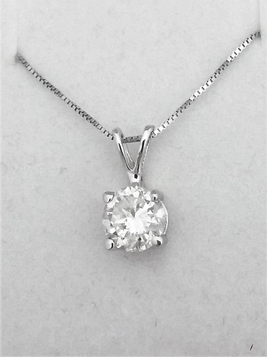 1 08 ct Round Diamond Pendant - G / SI1 - in 14 kt white gold + 14 K White  Gold Chain + AIG Certified + Laser Engraved   - Catawiki