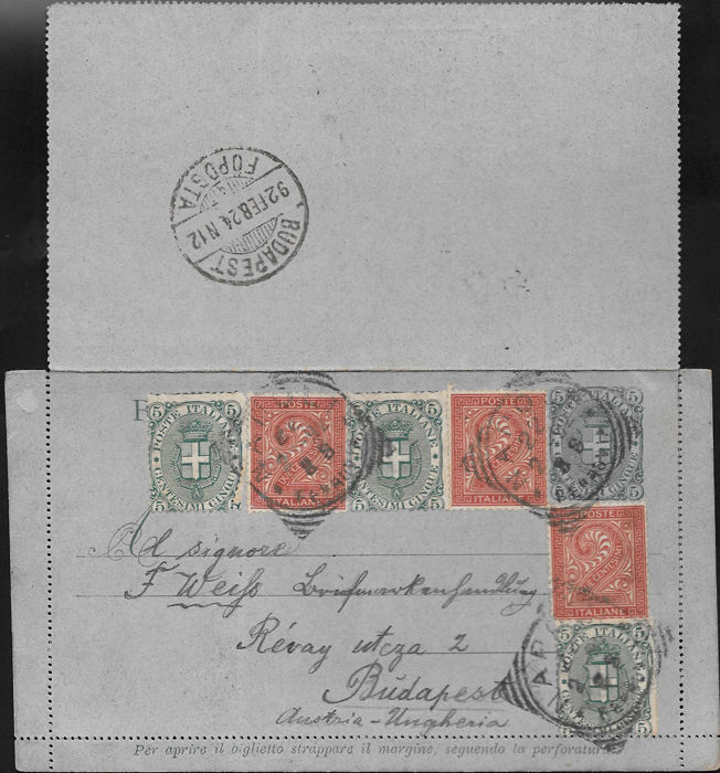 Italy, Kingdom, 1892 – Postal stationery, intact, complete with text, franked with 2c. brick red VEII + 5c. green Umberto I Including another three postal stationery