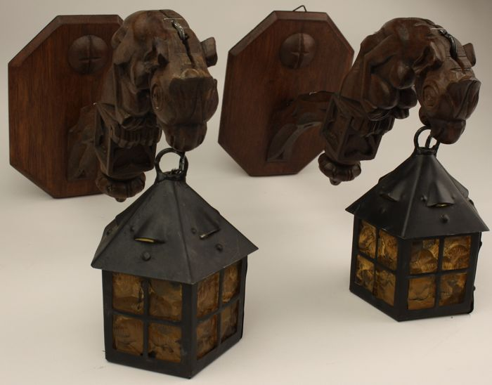 Pair of Neo Gothic hanging wall lamps detailed with gargoyles - wood, glass and metal - circa 1930